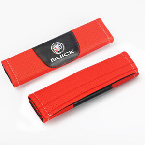 2Pcs Red Color Car Seat Belt Shoulder Cushion Cover Pad Fit For Buick Auto