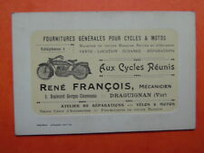 """RARE CARTE DE VISITE REPRESENTANT MOTO ANNEES 20 """"AUX CYCLES REUNIS"""" DRAGUIGNAN"""
