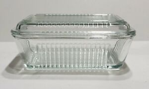 """True Vintage Refrigerator Clear Glass Ribbed  Butter Dish With Lid 6.5"""" X 4"""""""