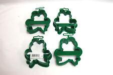 1-Set of 4 / Fox Run/Craftsmen Green Plastic FROG SHAPE COOKIE CUTTERS (#S7892)