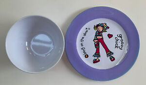 Bang on the Door Groovy Chick Melamine Plate and Bowl  Bundle NEW