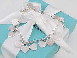 Auth Tiffany & Co Return to Silver Multi Hearts Dangle Bracelet