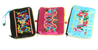 Satin Zip Embroidery Makeup Pouches 6in Qty3 Floral Black Pink Turquoise Bags