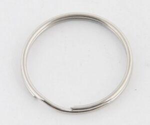 100 x Steel Split Key Rings Polished  25mm,  100 Pack Bulk Chain Keyring Rings