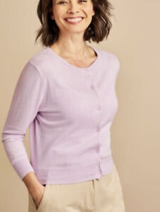 New Woolovers 3/4 Length Sleeve Crop Cardigan Size L Heather Lilac Silk Cotton