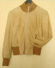 LADIES' BEIGE SUEDE  BOMBER  JACKET SIZE 12   #3021