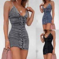Womens Sexy Lace Up Bodycon Dress Ladies V Neck Strappy Party Mini Denim Dress