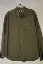 AUSTIN KANE Button front SHIRT-2 pockets-Cotton-lg sleeve- Khaki-sz XL