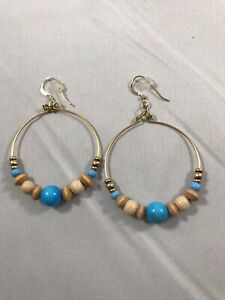 Alex And Ani Hoop Earrings With Turqouise And Wood Beads, New