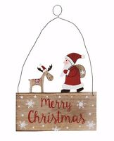 Wooden Merry Christmas Santa and Reindeer Home Decoration Plaque Gift