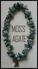 ZODIAC VIRGO Green Moss Agate Gemstone Beads Crystal Healing Charm Bracelet