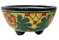 "Talavera Planter Footed Pot Mexican Pottery 11""  Ceramic Folk Art Flower"