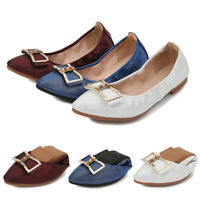 Womens Ladies Pointed Toe Flat Shoes Pumps Glitter Bow Soft Sole Casual Loafers