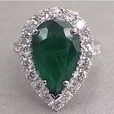 4.37Ct Pear Shape Green Zambian Emerald & Diamond Halo Engagement/Cocktail Ring