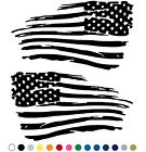 Tattered Distressed American Flag Decal Vinyl Sticker Set of 2 LEFT RIGHT Side  for sale