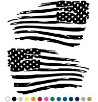 Tattered Distressed American Flag Decal Vinyl Sticker Set of 2 LEFT RIGHT Side