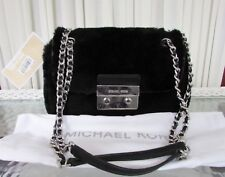 Michael Kors Shearling Leather Sloan Small Shoulder Bag Black NWT $298