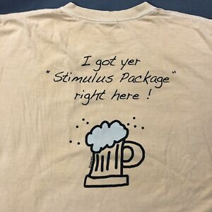 Crazy Shirts Stimulus Package Beer Dyed Shirt Sz Large Tan Double Sided Tee