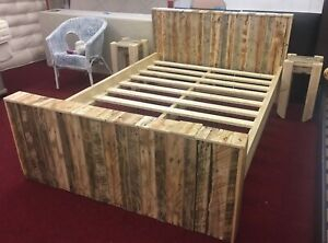 Unique Rustic Handmade Recycled Double Bed & Bedside Tables **(Special Offer)**