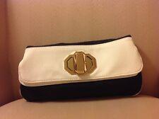 New Deux Lux Handbag-Jules Gold Turn-Lock Clutch Bag Black & White NWT