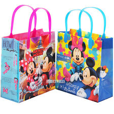 """Mickey and Minnie Mouse Authentic Licensed Reusable Medium 8"""" Goodie 12 Bags"""