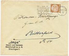 """STUTTGART, Briefumschlag 1936, Impa """"Radfahrer! Nicht anhängen an Fahrzeuge!"""""""