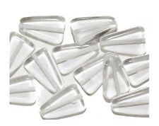 Clear Crystal Flat Triangle Czech Pressed Glass Beads 16mm  (pack of 12)