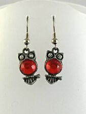 Earrings Owl Dark Silver Tone Red Crystal Belly Clear Crystal E272