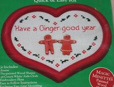 Christmas Cross Stitch Kit Ginger Good Year Gingerbread Man heart shaped frame