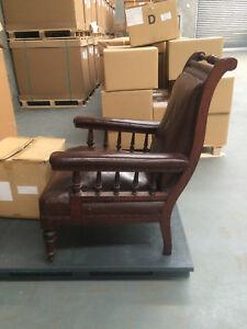 Antique Gentlemen's chair hardwood and leather