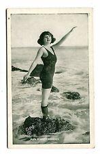 Vintage ARCADE CARD MACK SENNETT COMEDIES Silent Movies woman bathing suit rocks