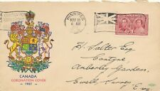 CANADA 1937 FIRS DAY COVER #237, KING GEORGE VI CORONATION, FLAG CANCEL !! D57