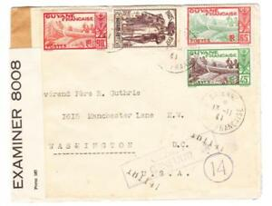 French Guiana Sc#131,#165,#127,#123-CAYENNE 12/11/41-WWII CENSORS
