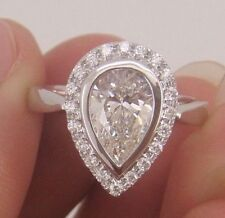 Moissanite Engagement Ring 925 Sterling Silver 2.56 Ct Off White Pear Cut