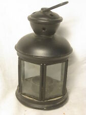 metal & glass lantern candle holder  hanging lamp tea candle star  tealight 8""