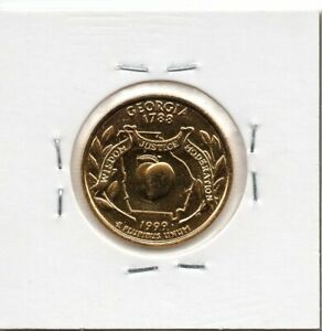 1999 UNITED STATES OF AMERICA QUARTER DOLLAR GOLD PLATED COIN GEORGIA LETTER P
