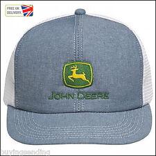 Vendedor Reino Unido Nuevo Flatbill John Deere PAC Denim Camionero Malla Blanca Jeans Sombrero