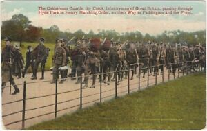 Coldstream Guards  March Through Hyde Park to the Front WWI Vintage Postcard