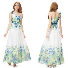 Full Length Satin One Shoulder Floral Dresses for Women