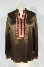 NWT MAX MARA Brown 100% Silk Blouse Size M, $190, Fall Fashion, Orange Trim