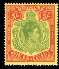 BERMUDA-1939 5/- Pale Green Red & Yellow Perf 14 -Sg118a-Superb Unmounted mint