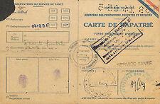 93 VILLEMOMBLE CARTE PROVISOIRE IDENTITE RAPATRIE OLD IDENTITY CARD MAI 1945
