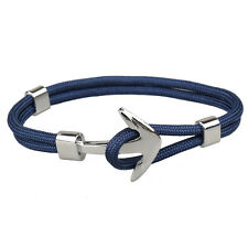 Handmade Men's Silver Alloy Anchor Polyester Rope Wristband Bracelet Jewelry