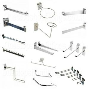 SLAT-WALL CHROME RETAIL SHOP DISPLAY PANEL ACCESSORY HOOKS,ARMS AVAILABLE