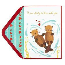 NEW & SEALED PAPYRUS Otterly in Love Valentine's Day Card - swimming otters