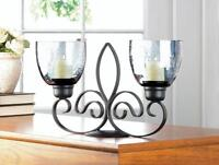 smokey glass black iron scrollwork Candle holder candelabra table centerpiece