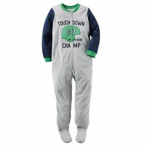 CARTER'S Boys' 4T Touchdown Champ Footed Pajamas or Fleece Blanket Sleeper NWT