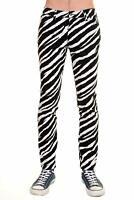 Run & Fly Mens Black White Zebra Stretch Skinny Jeans Indie Retro Punk Rock Glam