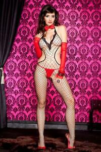 MUSIC LEGS Spandex Lace Trimmed V-neck Diamond Net Cut-Out Bodystocking