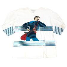 Vintage MOLTO FINO Women's Blue Striped White Shirt w/ Printed Women Figure (M)